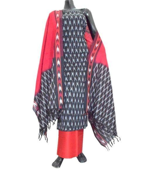 Handloom Cotton Ikat Salwar Suit-Black&Red