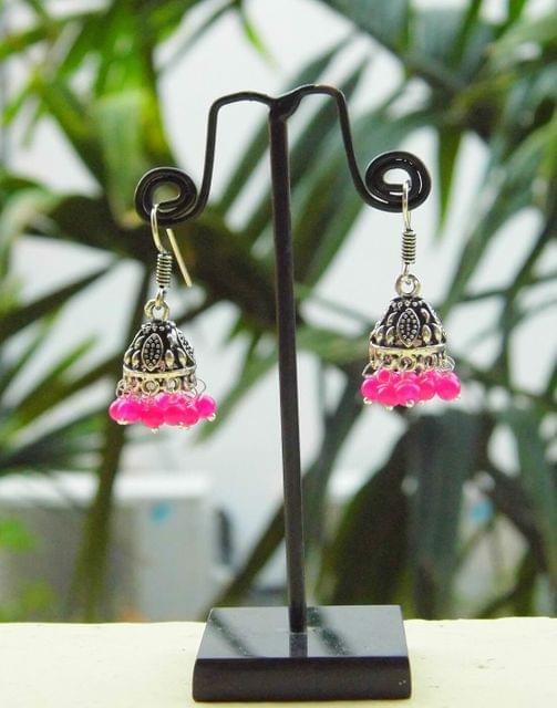 Oxidized Metal Jhumkas/Jhumkis-Pink Beads