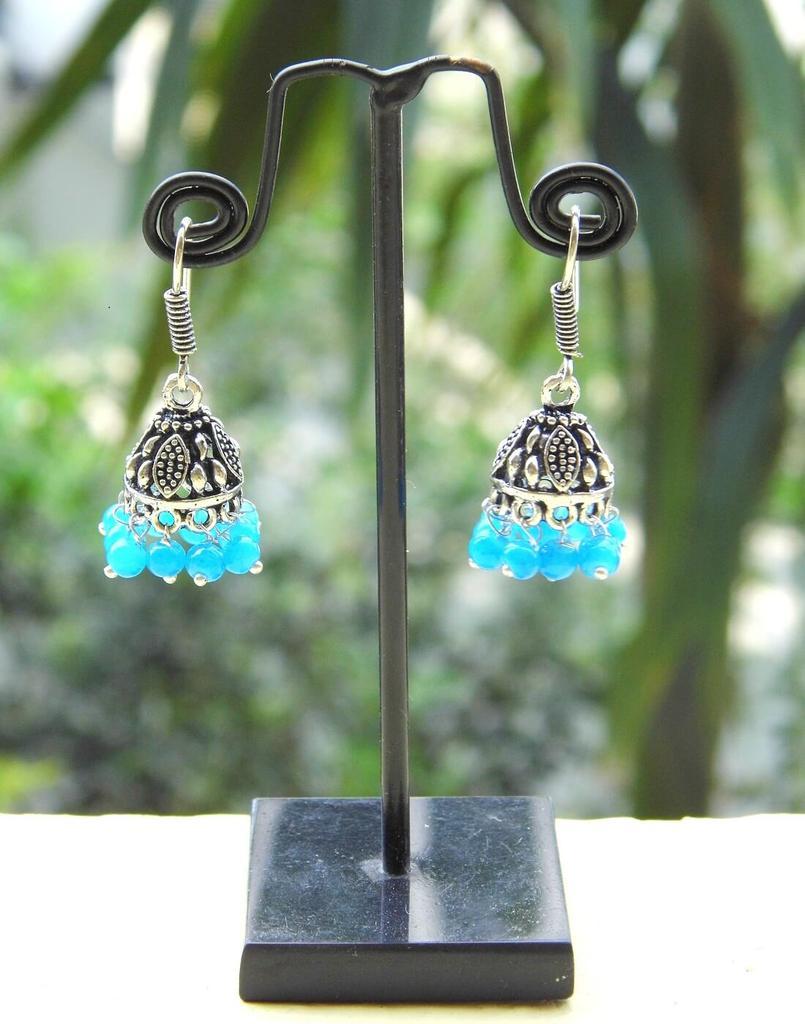 Oxidized Metal Jhumkas/Jhumkis- Turquoise Beads