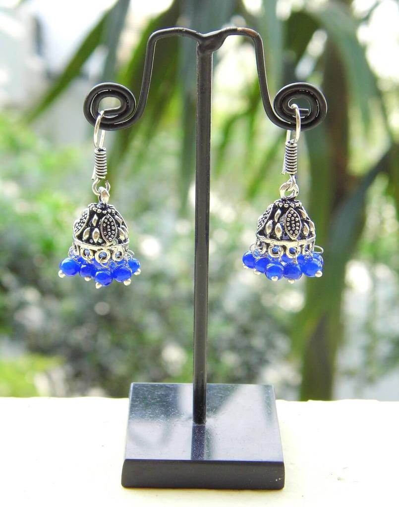 Oxidized Metal Jhumkas/Jhumkis-Blue Beads