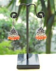 Oxidized Metal Jhumkas/Jhumkis-Orange Beads