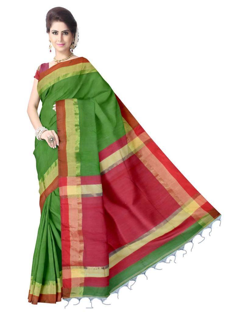 Bengal Handloom Cotton Silk Saree- Red&Green