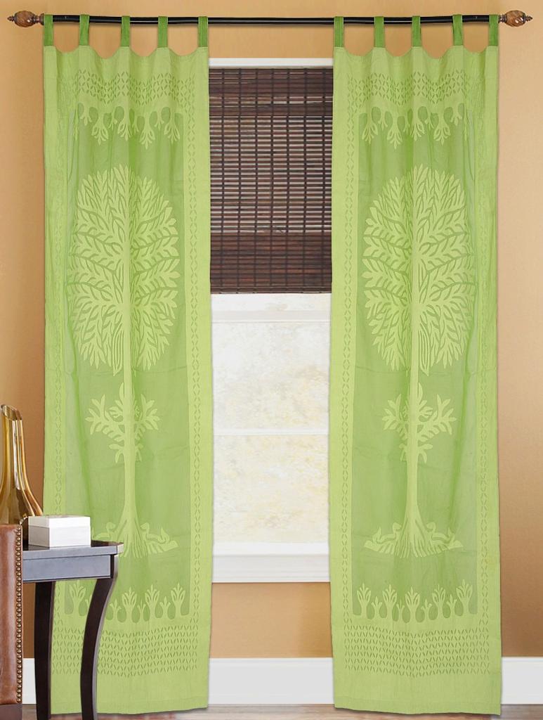 Cotton Cutwork Door/Window Curtain- Light Green