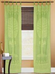 Cotton Cutwork Door/Window Curtain- Light Green