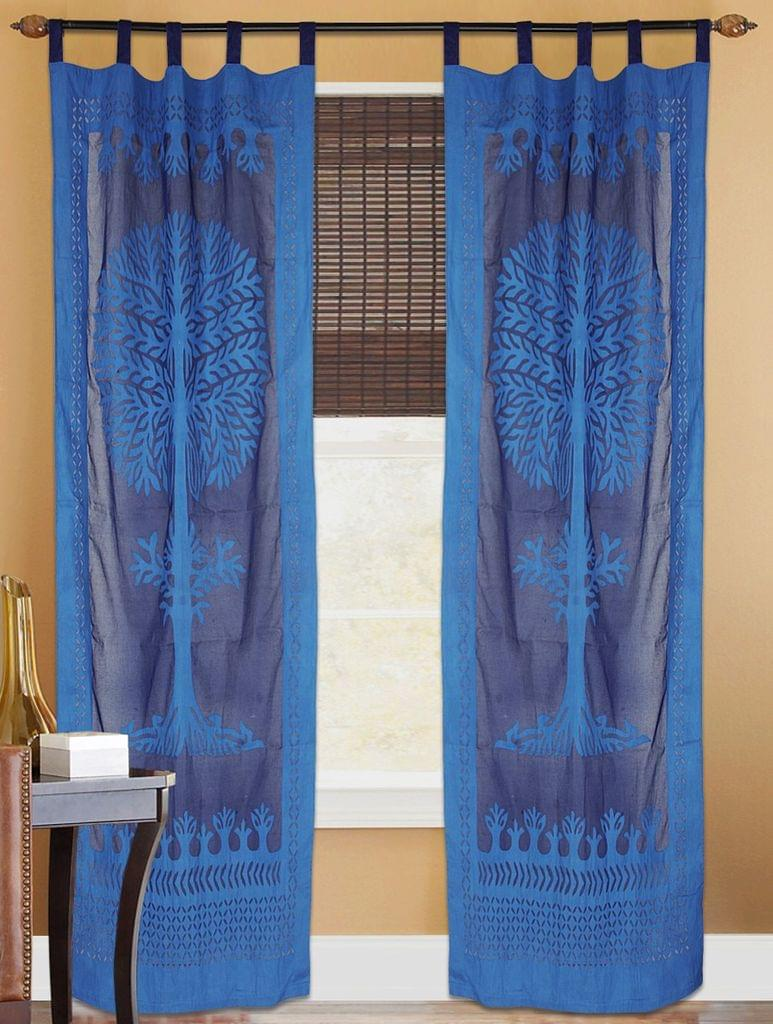 Cotton Cutwork Door/Window Curtain- Royal Blue