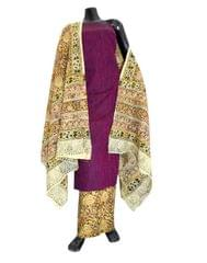 Kalamkari Block Print Cotton Suit-Dark Fuchsia