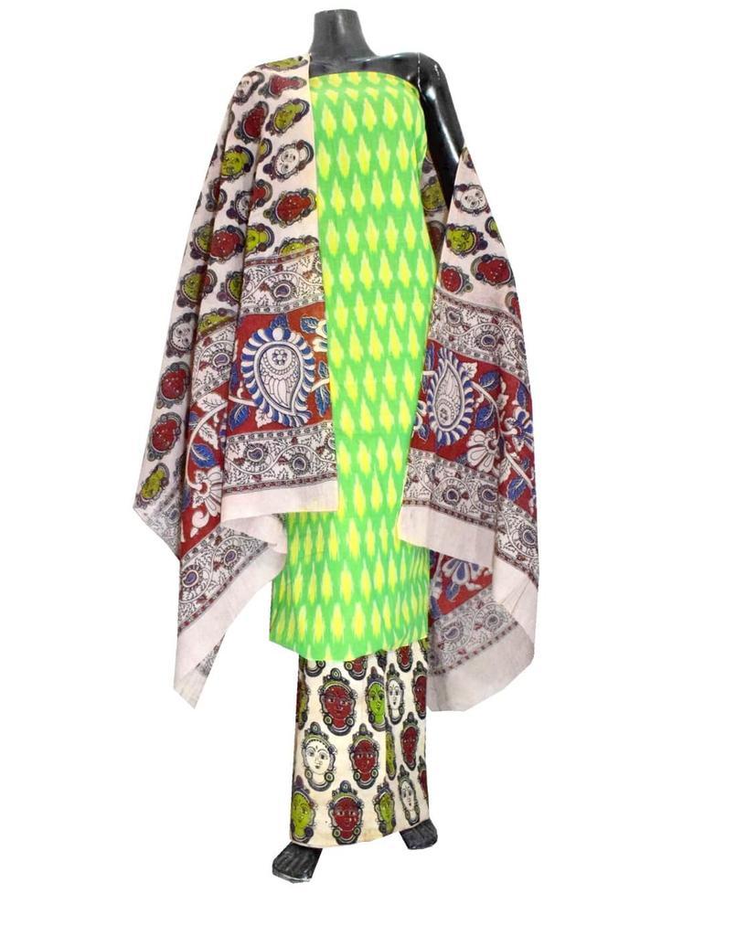 Ikat & Kalamkari Block Print Cotton Suit-Lime Green