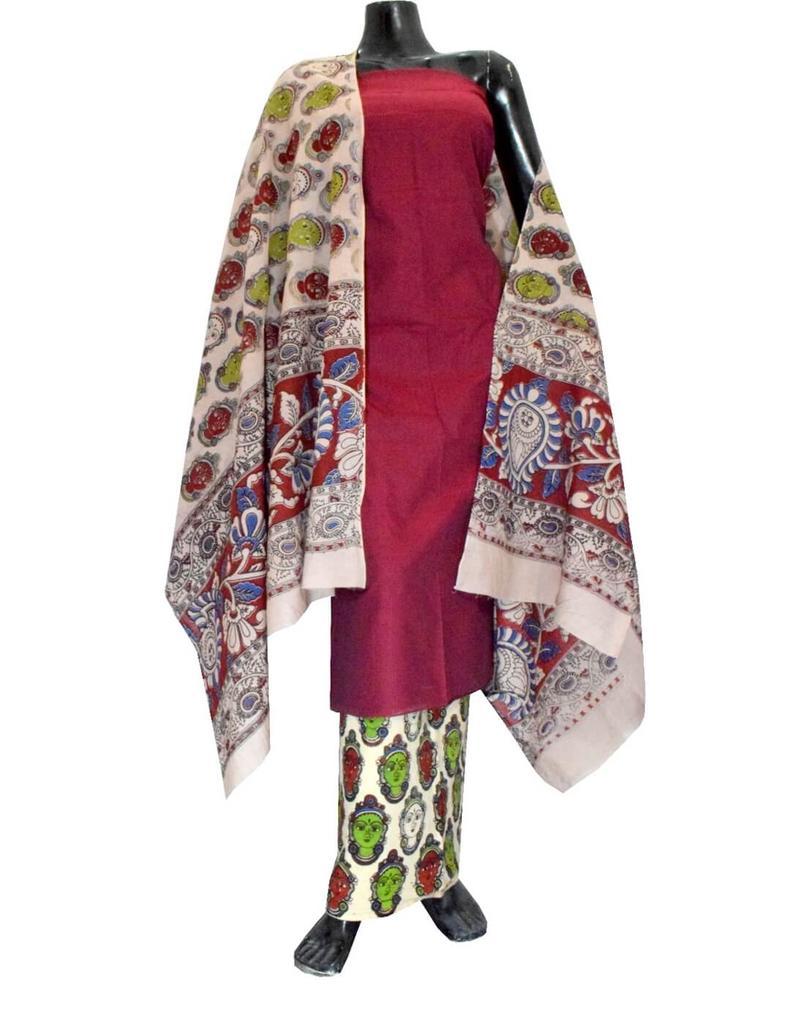 Kalamkari Block Print Cotton Suit-Maroon