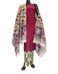 Kalamkari Block Print Cotton Suit-Maroon