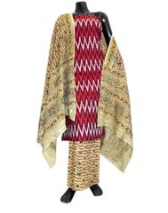 Ikat & Kalamkari Block Print Cotton Suit-Maroon&White