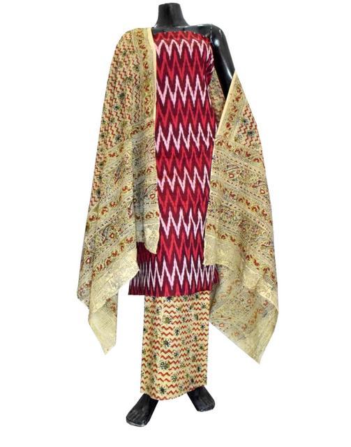 Ikat & Kalamkari Block Print Cotton Suit-Maroon&White