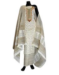 Cotton Bagh Print Salwar Suit-White