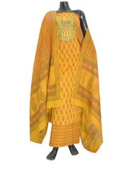 Cotton Bagh Print Salwar Suit-Mustard Yellow