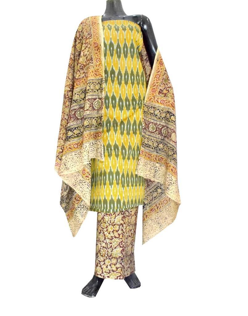 Ikat & Kalamkari Block Print Cotton Suit-Yellow&Green 1