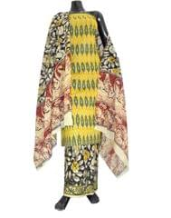 Ikat & Kalamkari Block Print Cotton Suit-Yellow&Green