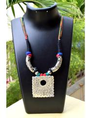 Threaded German Silver Hansuli Necklace&Pendant- Multicolor