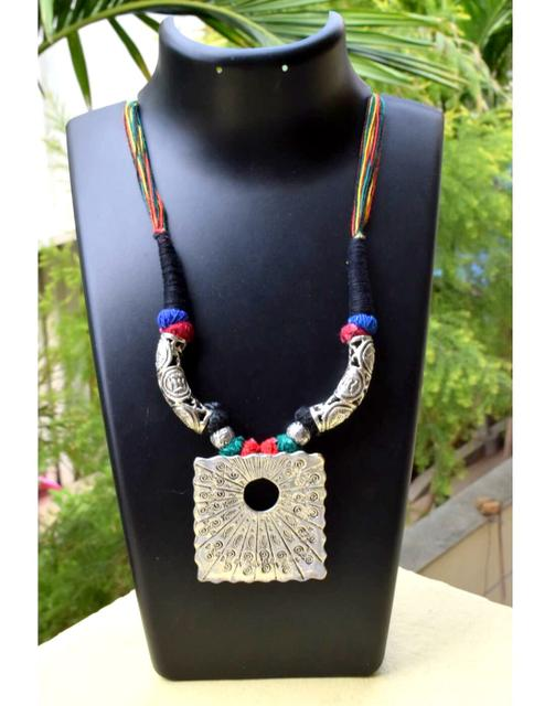 Threaded German Silver Hansuli Necklace&Pendant- Multicolor