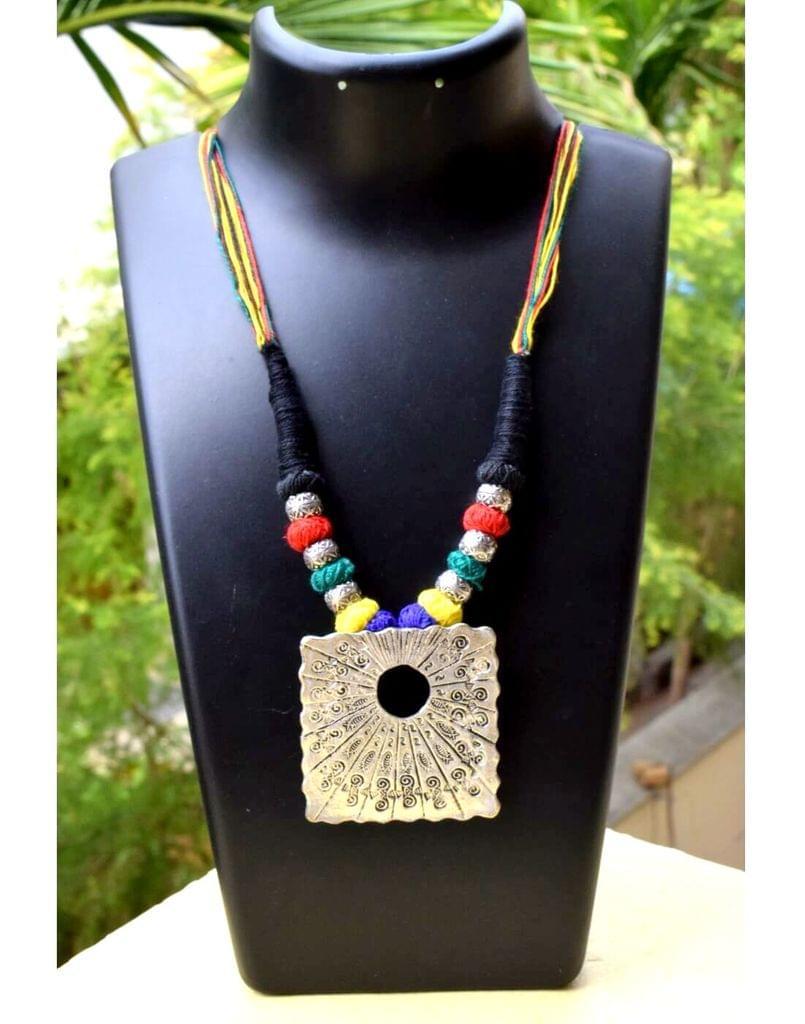 Threaded German Silver Necklace&Pendant-Multicolor