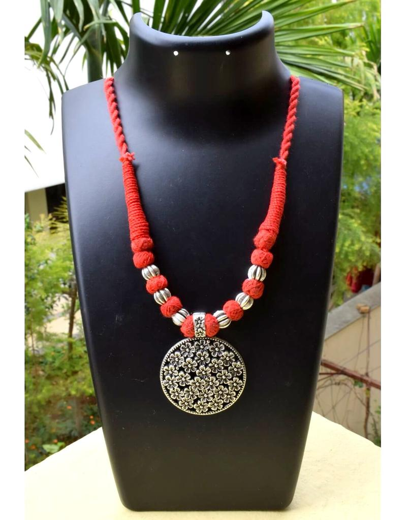 Threaded German Silver Necklace&Pendant- Red