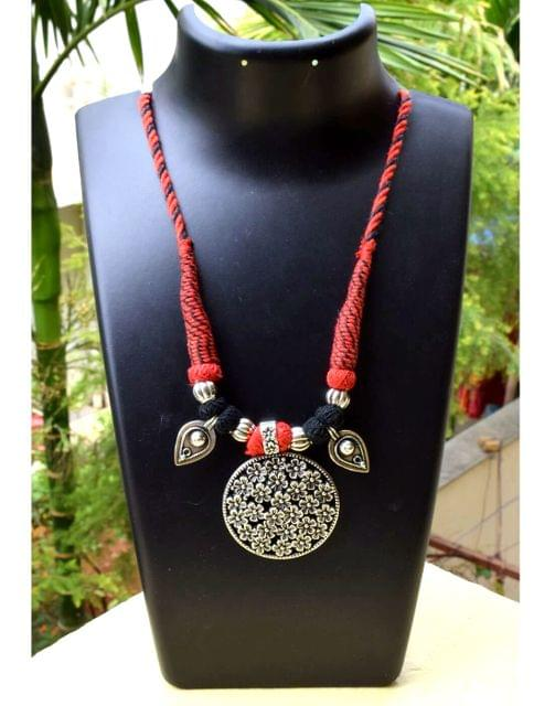 Threaded German Silver Necklace&Pendant- Red&Black