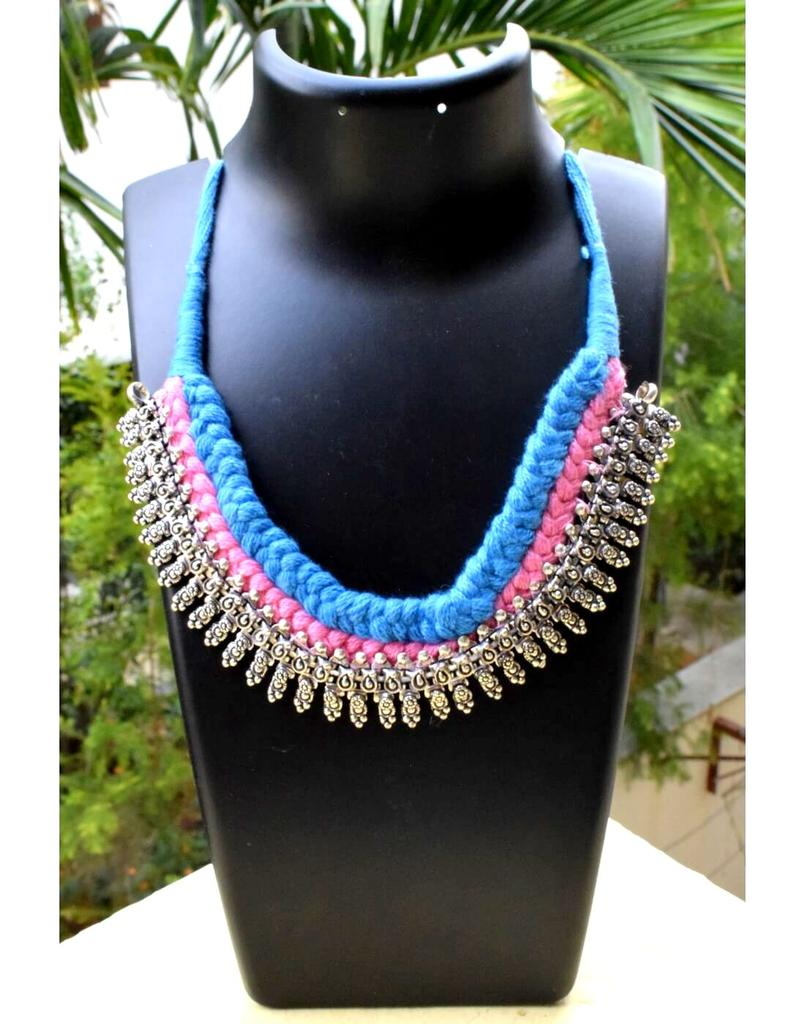 Braided German Silver Choker-Turquoise&Pink