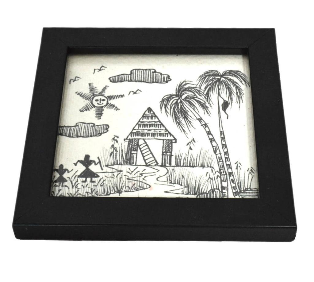Wooden Coasters with Handmade Sketch Set of 6- Pattern 2