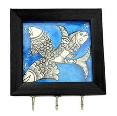 Wooden Key Holder with Handmade Madhubani Sketch- Pattern 3