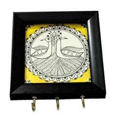 Wooden Key Holder with Handmade Madhubani Sketch- Pattern 4