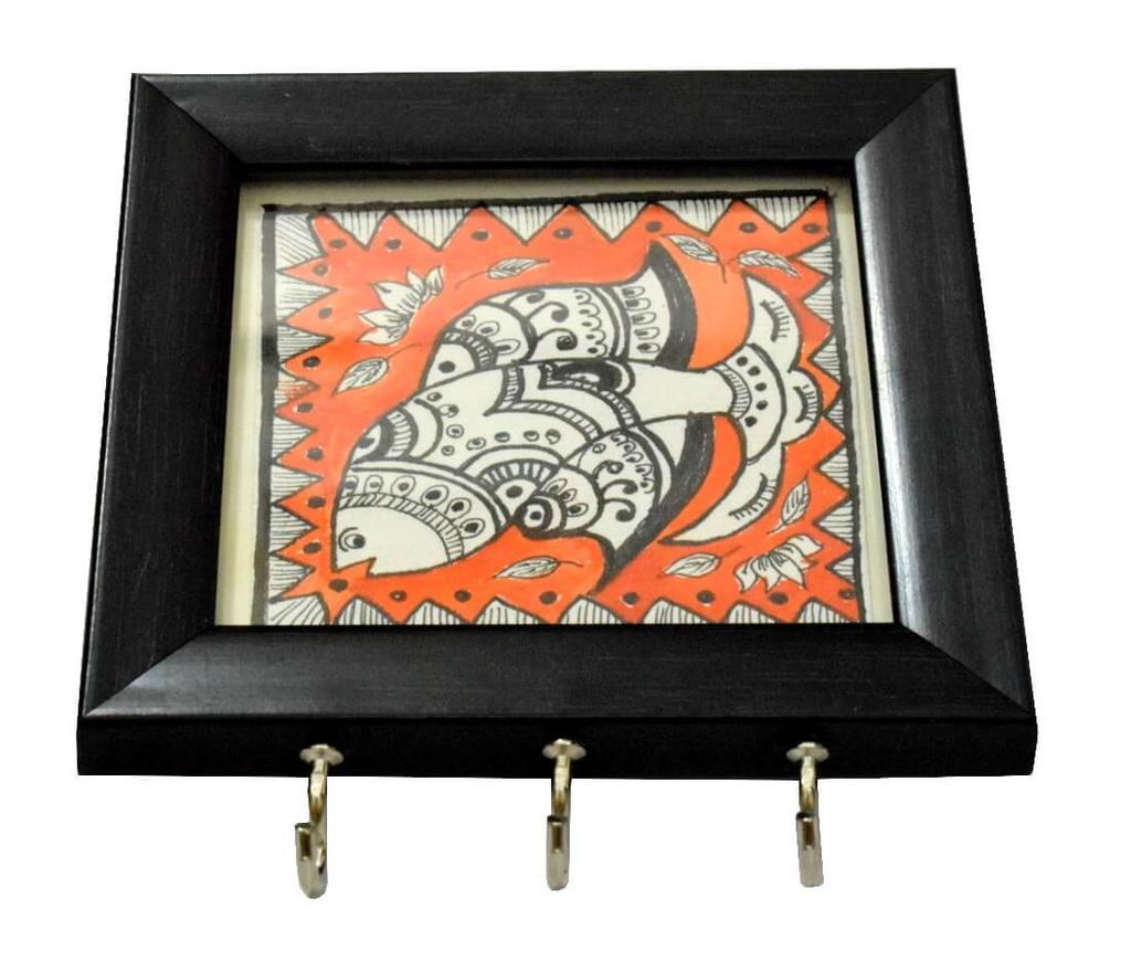 Wooden Key Holder with Handmade Madhubani Sketch- Pattern 5