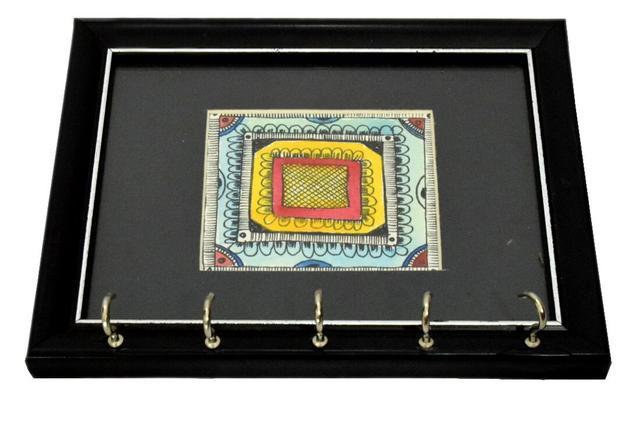 Wooden Key Holder with Handmade Madhubani Sketch- Pattern 6