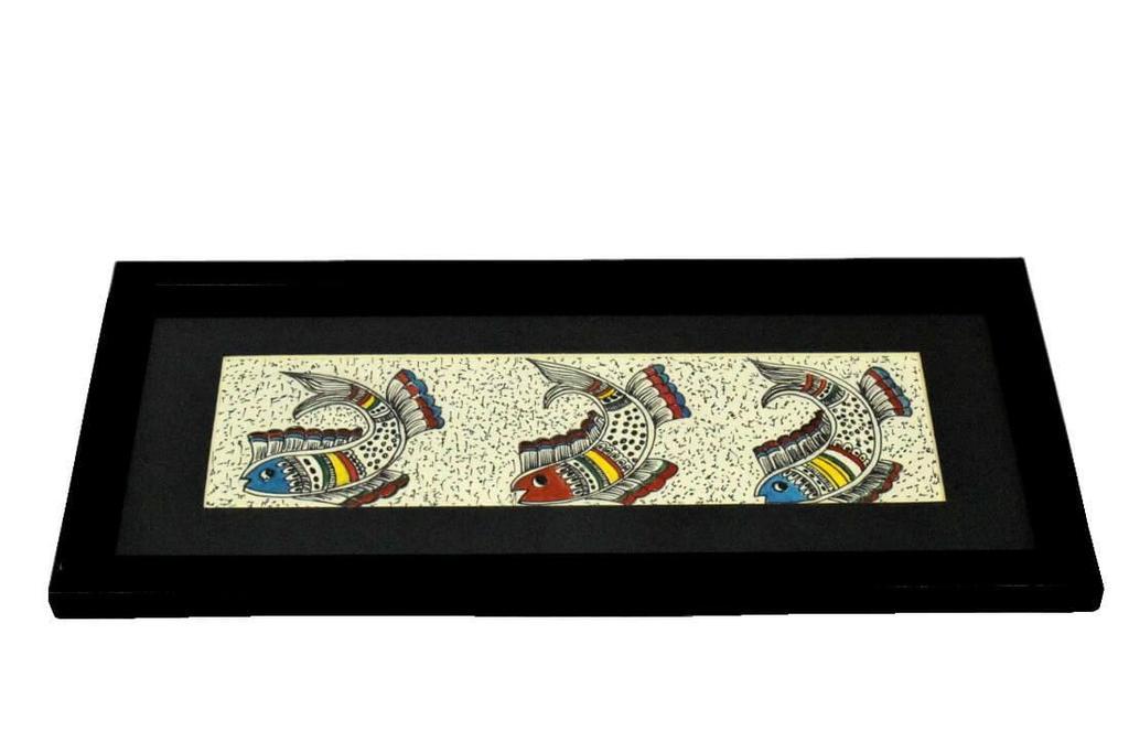 Framed Madhubani Sketch- Fish Pattern