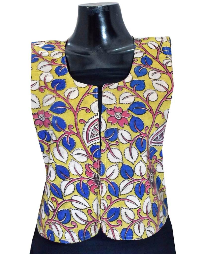 Reversible Kalamkari Jacket in Cotton- Pattern 3