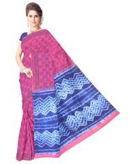 Cotton Bagru Print & Shibori Saree- Pink&Blue