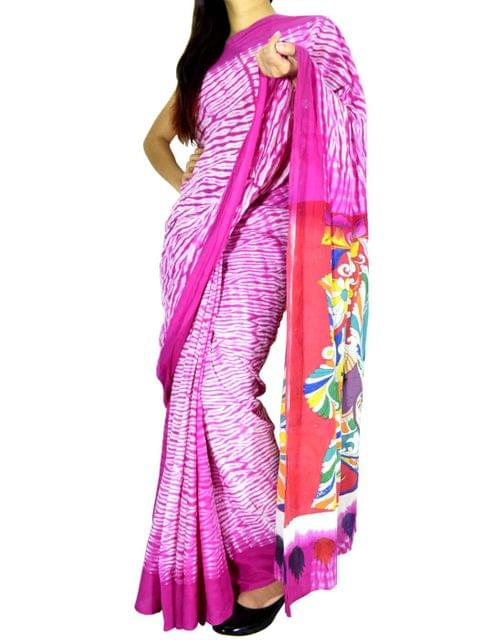 Cotton Shibori Kalamkari Saree-Pink