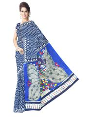 Cotton Bagru Kalamkari Saree- Indigo 1