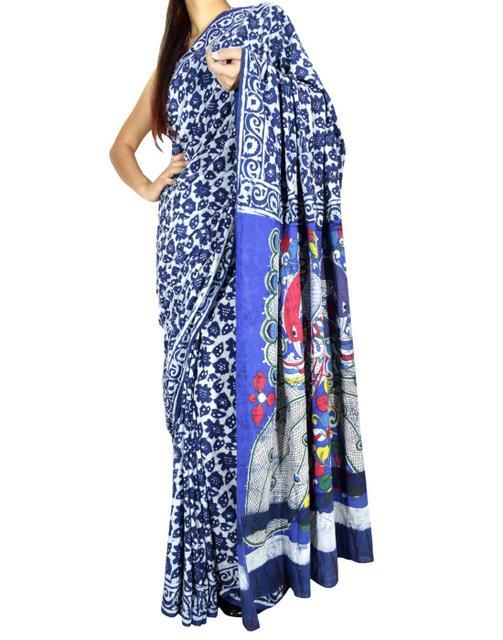 Cotton Bagru Kalamkari Saree- Indigo 1