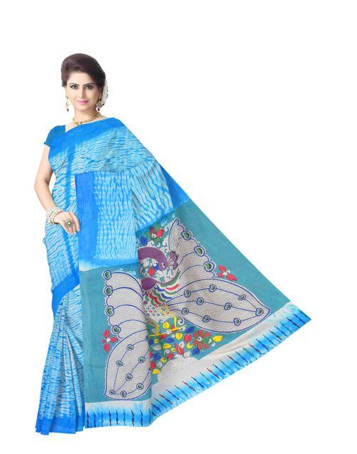 Cotton Shibori Kalamkari Saree-Turquoise