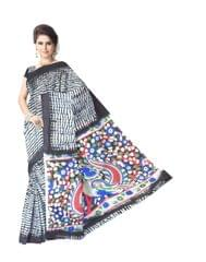 Cotton Shibori Kalamkari Saree-Black