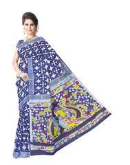 Cotton Bagru & Kalamkari Saree- Indigo Blue
