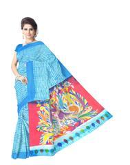 Cotton Shibori Kalamkari Saree-Turquoise&Red