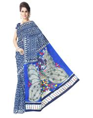 Cotton Bagru & Kalamkari Saree- Indigo Blue 1