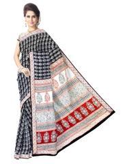 Bagh Print Cotton Saree-Black