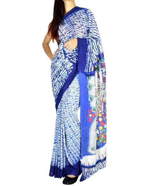Cotton Shibori Kalamkari Saree-Dark Blue