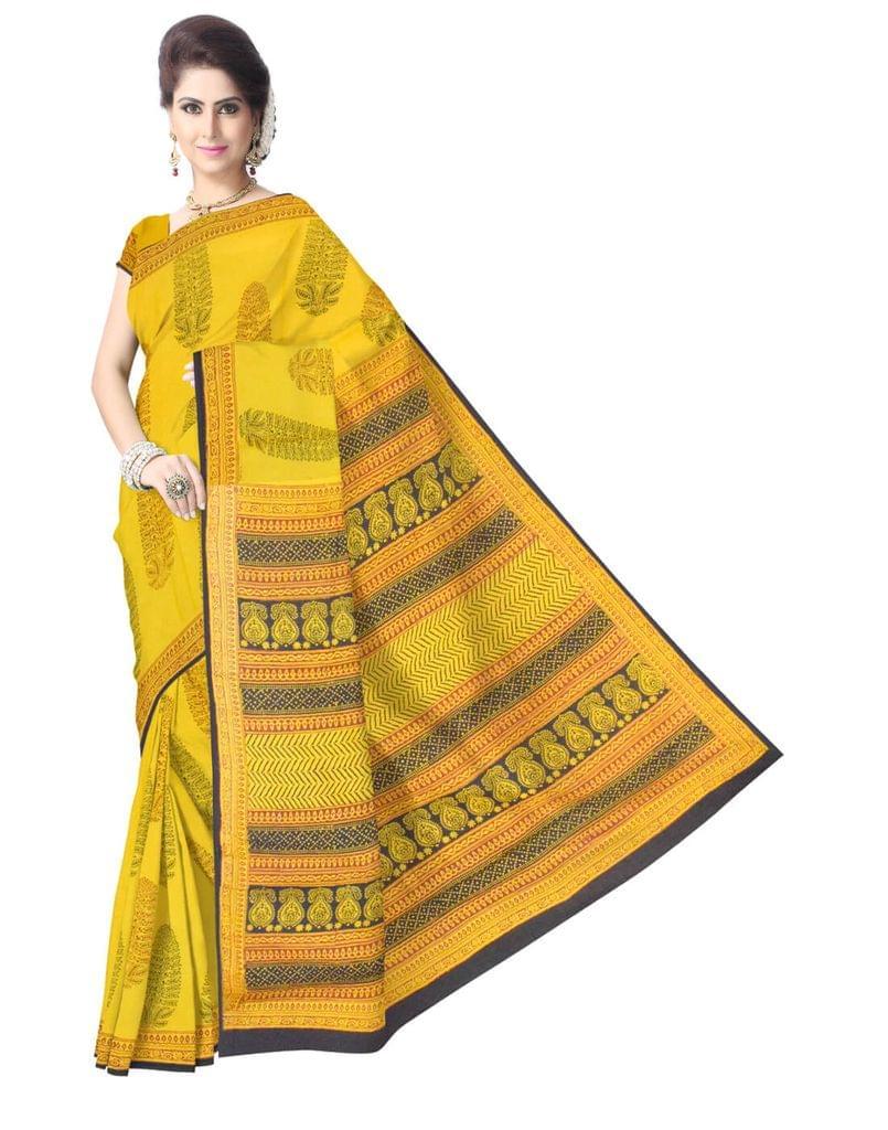 Bagh Print Cotton Saree-Mustard Yellow