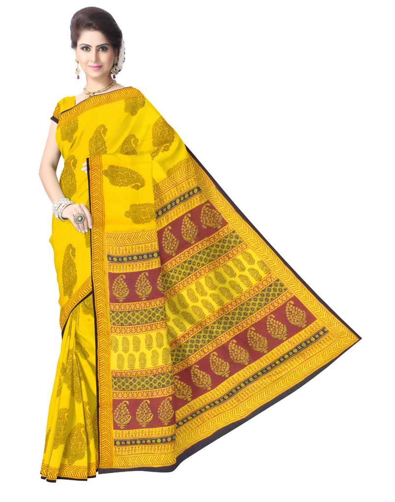 Bagh Print Cotton Saree-Mustard