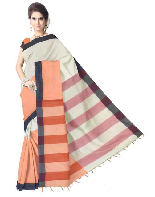 Striped Resham Silk Designer Gamcha Saree-Beige&Orange