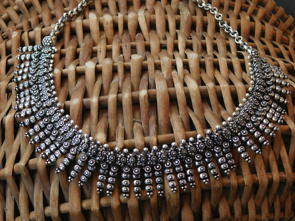 German Silver Kolhapuri Necklace- Pattern 1