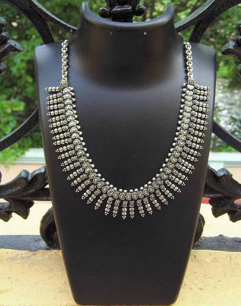 German Silver Kolhapuri Necklace- Pattern 1