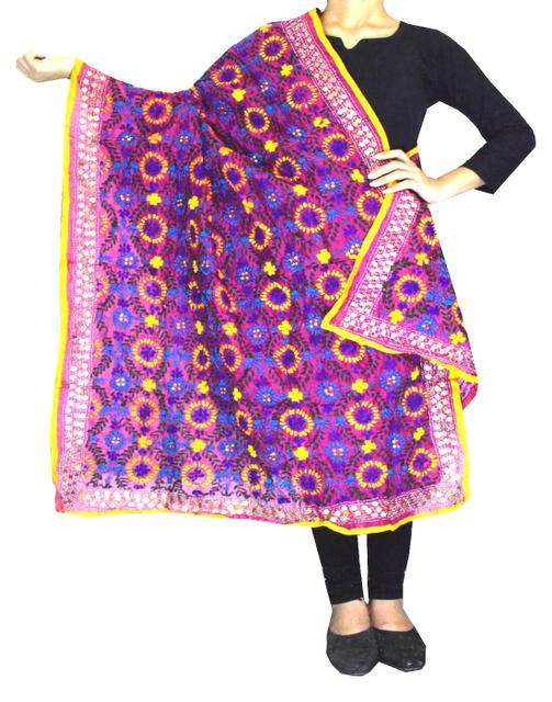 Phulkari Dupatta on Chanderi Fabric -Pink
