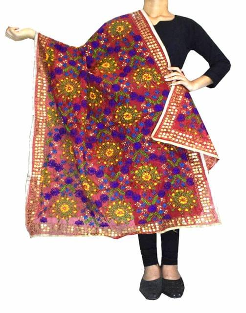 Phulkari Dupatta on Chanderi Fabric -Maroon